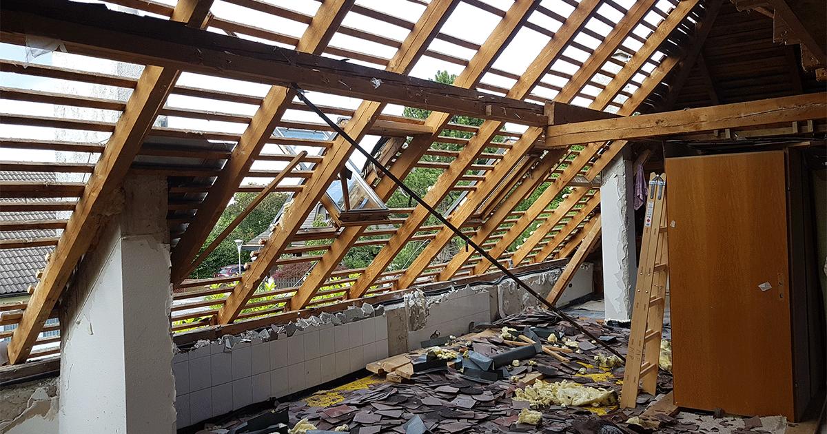 Dachabbruch für Haus Aufstockung