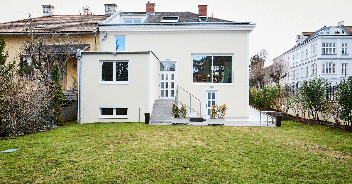 Außenansicht des umgebauten Hauses