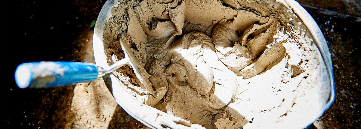 Detailansicht des rohen Verputzes