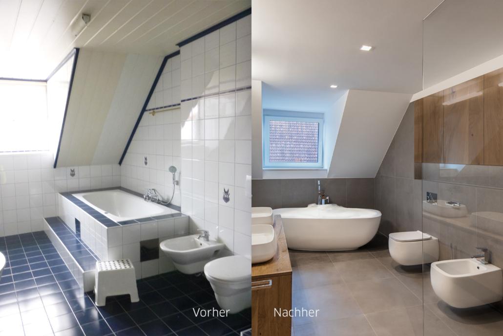 Ein renoviertes Badezimmer im vorher nachher vergleich