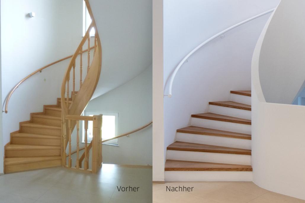Ein modernes Stiegenhaus im vorher nachher Vergleich
